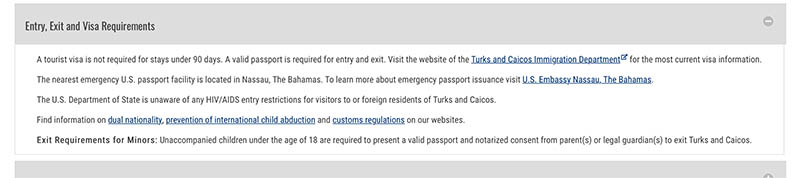 Entry requirements to Turks and Caicos
