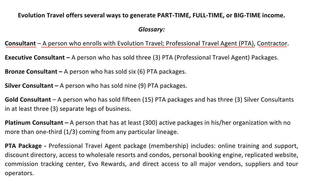 It's easy to become a professional travel agent with Evolution Travel -- just pay the fee.
