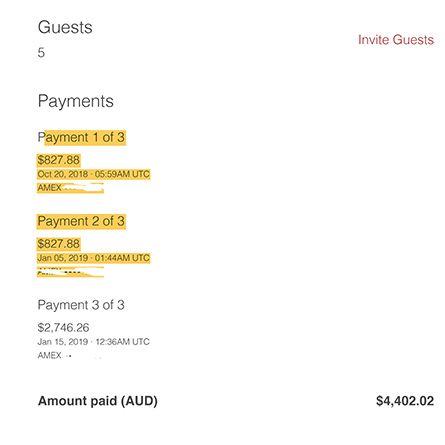 """The payment listed as """"coupon"""" was the credit from the original canceled Airbnb rental."""