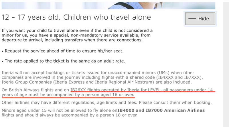 No child under age 14 can fly alone on Level
