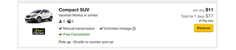 Is this a car rental scam? This screenshot shows a compact SUV