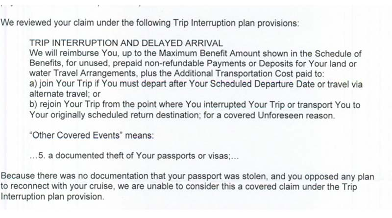 A misplaced passport it not a named peril on this trip insurance policy.