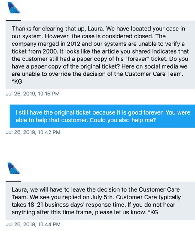 More tweets to United Airlines about this old ticket.