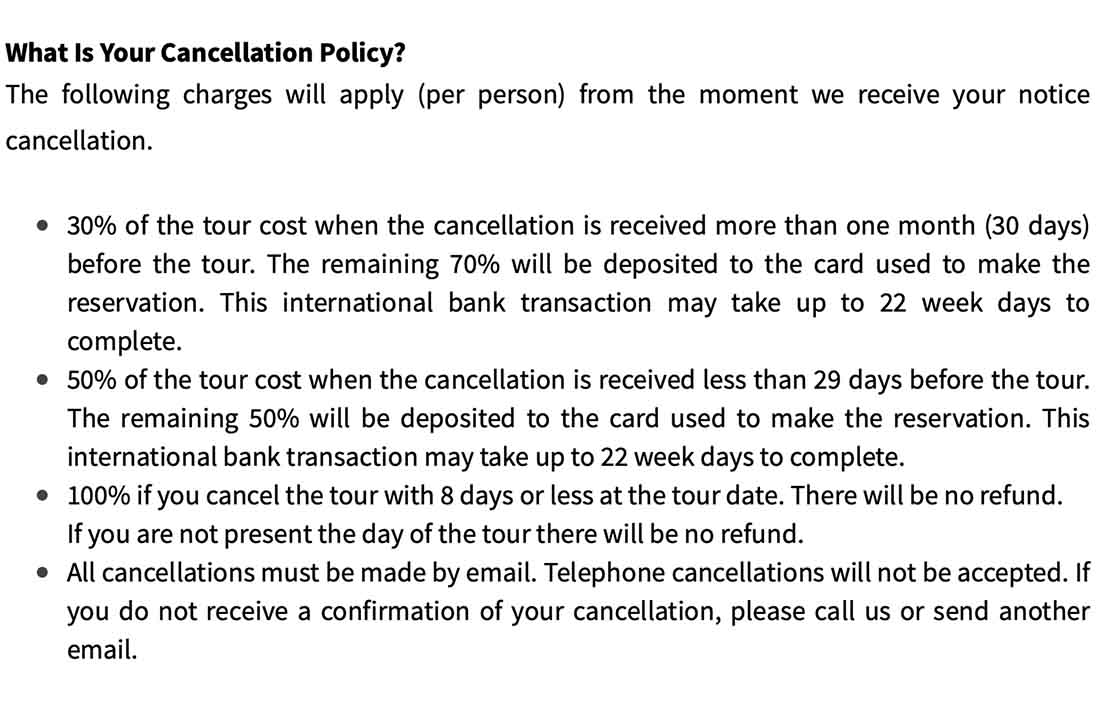 This is the cancellation policy of Panama Canal Trips boat tours.