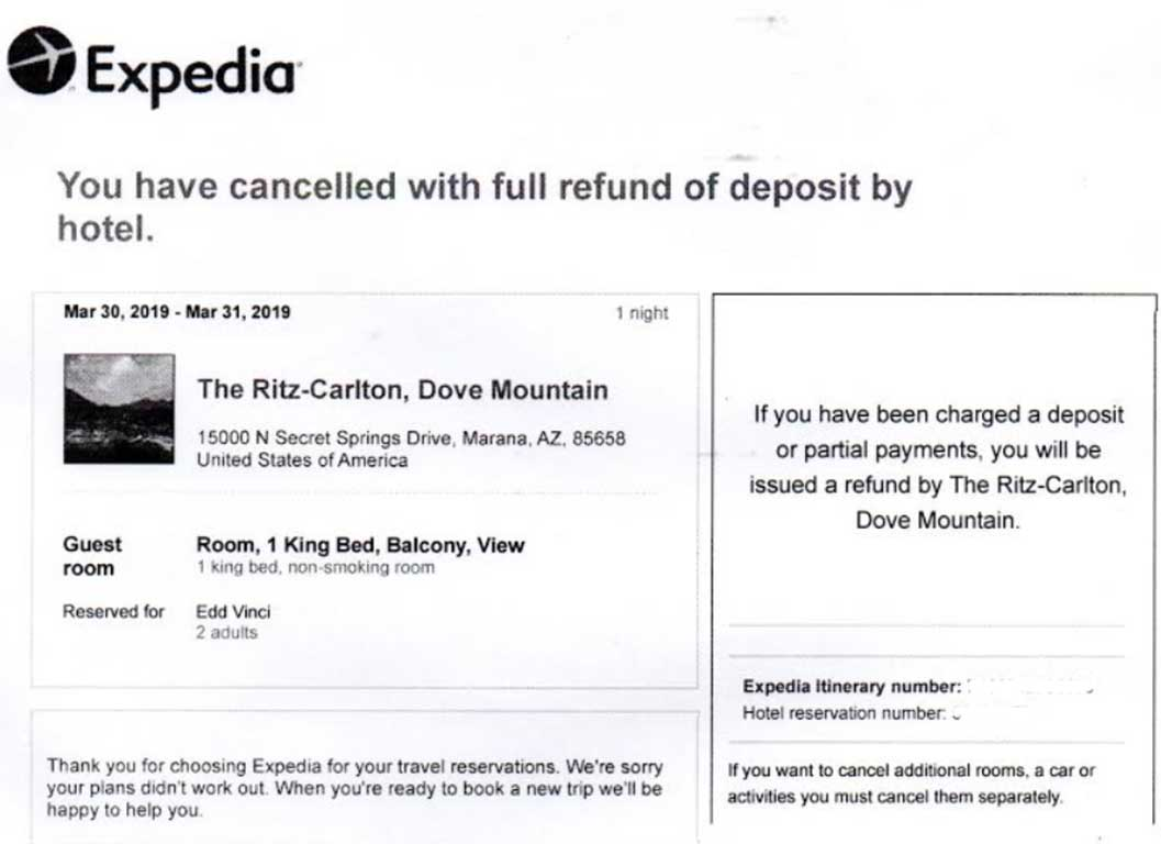 Expedia confirmed this Ritz-Carlton cancellation.
