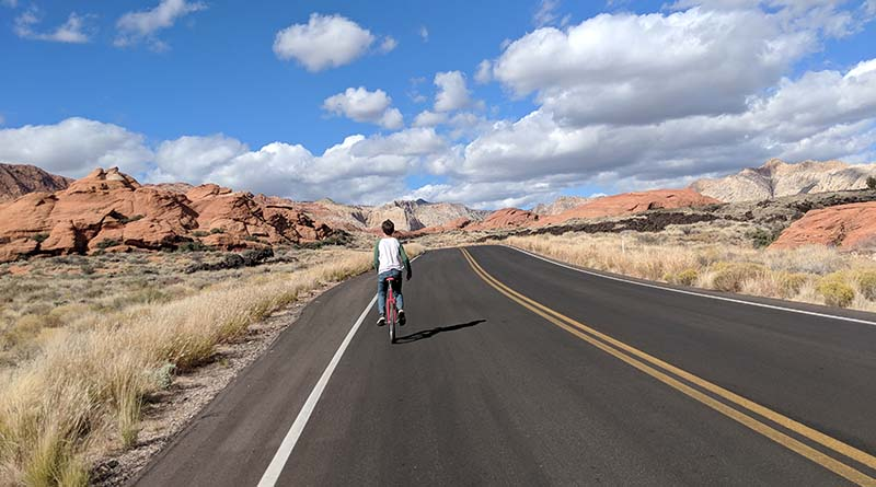 Iden Elliott rides his unicycle in Snow Canyon, Utah. When passengers start to fight, you have to break them apart and give them some distance.