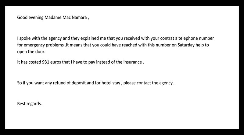 The owner of this Paris Attitude rental sent this email about the expensive damage to the front door.