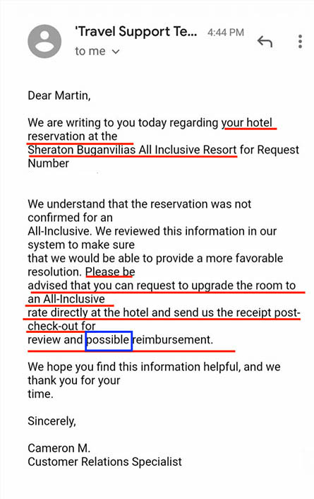 Priceline suggests to pay for the upgrade to an all-inclusive resort and ask for a refund later.