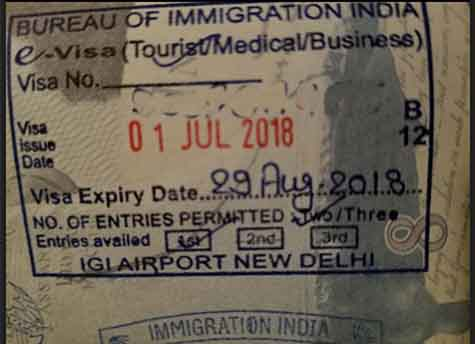The stamp on Charan's passport shows the e-visa expired on August 29.