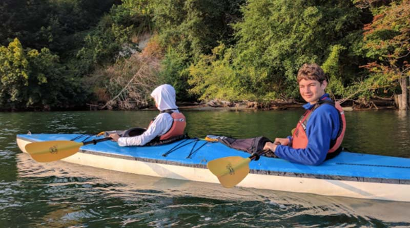 Kayaking in Washington in 2017. The currents were so strong, we almost couldn't get back to shore.