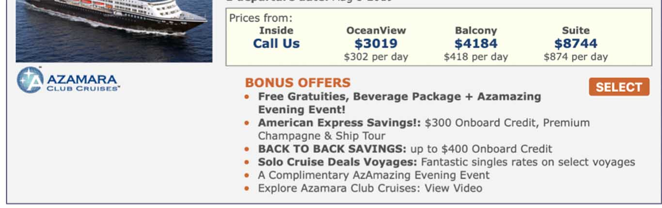 These are the correct prices for this Azamara cruise.