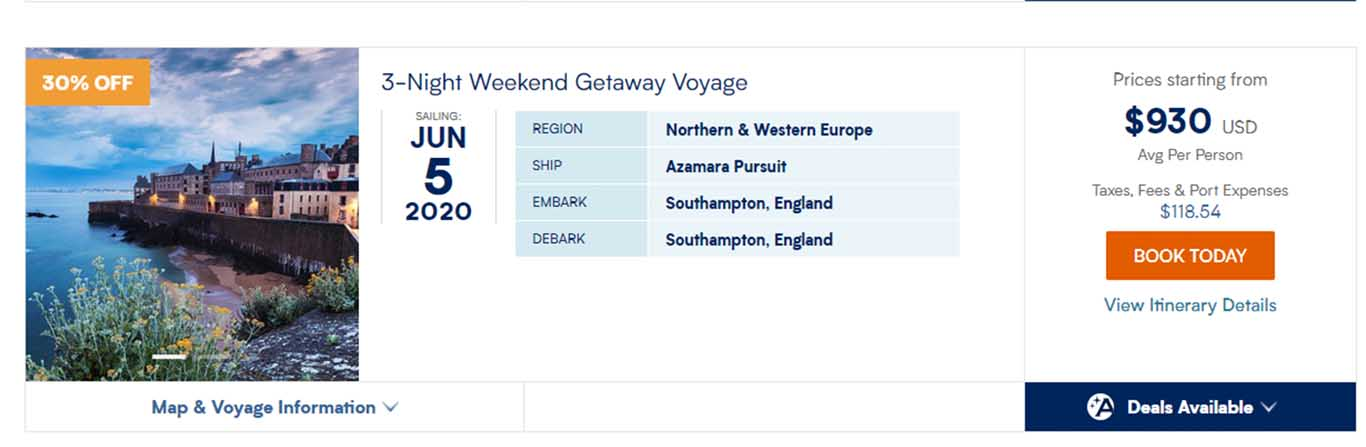 Azamara displayed an incorrect cruise fare for a suite.