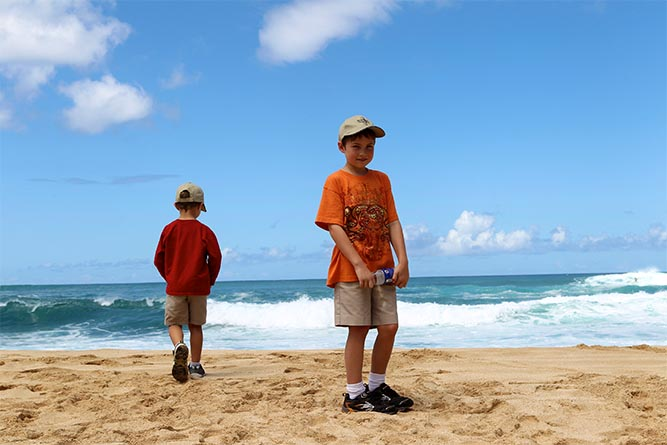 The author's children in Oahu -- one of his favorite summer vacation memories.