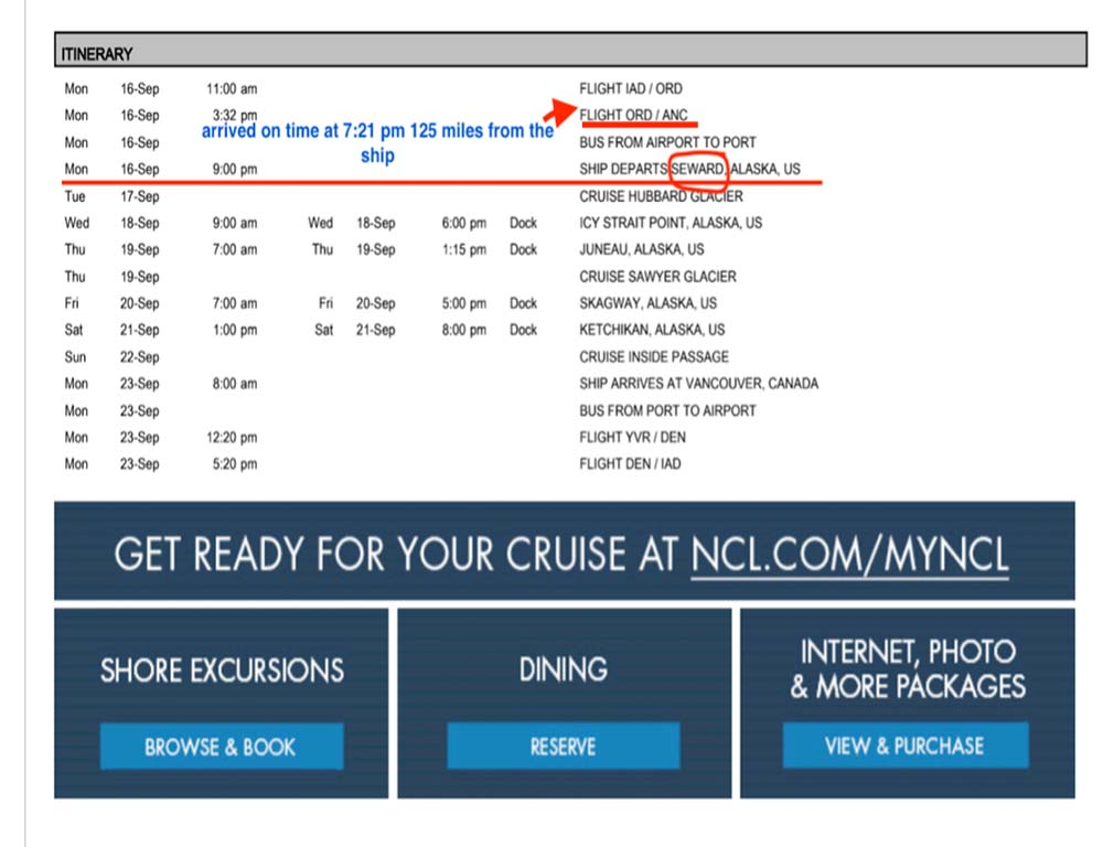 The cruise specialist booked an impossible flight schedule for this couple.